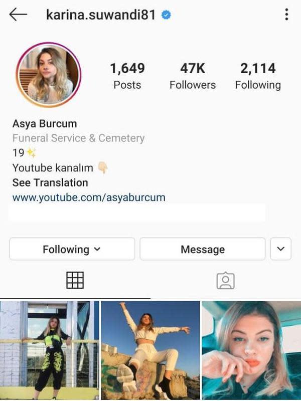 Tampilan akun Instagram Karina Suwandi (Instagram/ karina.suwandi81 via Kapanlagi.com)