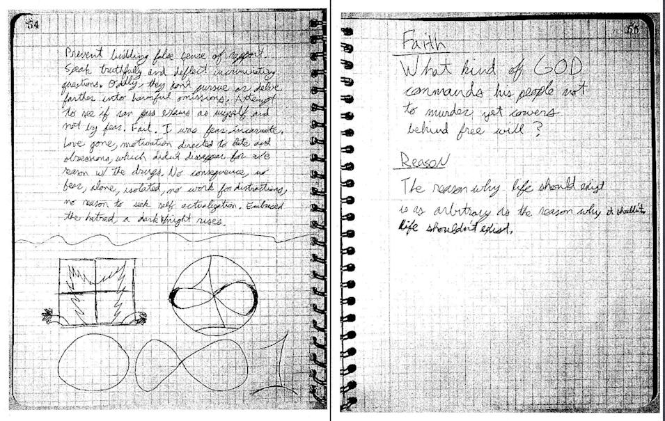 This screenshot made from a pdf released by the Colorado Judicial Department on Wed., May 27, 2015, shows a portion of Aurora shooter James Holmes' notebook, after it was presented as evidence in the Holmes murder trial on Tues., May 26, 2015, in Centennial, Colo. The notebook was released into public domain as per court procedure. (Colorado Judicial Department via AP Photos)