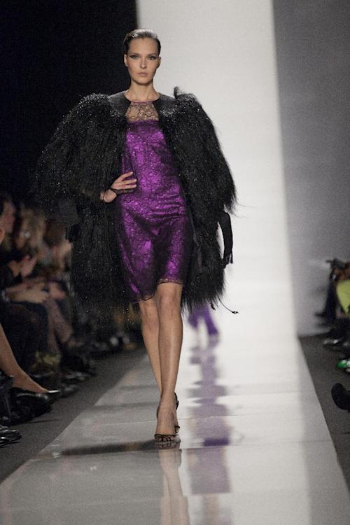 A model walks the runway during the Ralph Rucci Fall 2013 fashion show during Fashion Week, Sunday, Feb. 10, 2013, in New York. (AP Photo/Karly Domb Sadof)