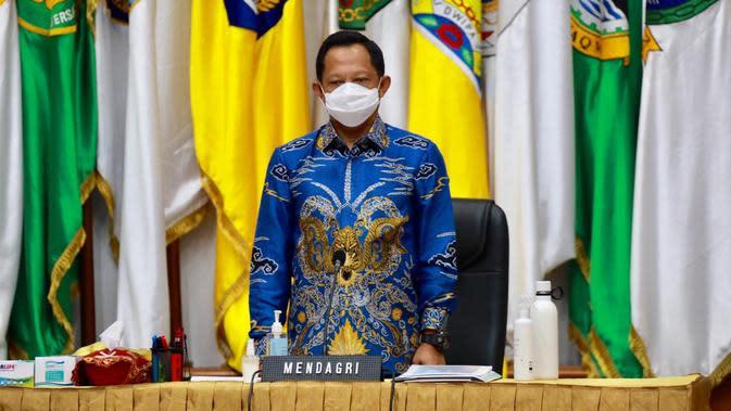 Mendagri Muhammad Tito Karnavian Saat Acara webinar nasional Mendagri Menyapa Camat Tahun 2020. (Foto: Dokumentasi Humas Kemendagri).