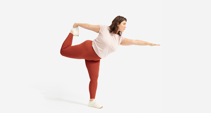 The Performance Legging in Brandy Rose. (Credit: Everlane)