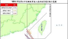 共軍3架慢速機下午再犯西南防空識別區 9月來第35度擾台
