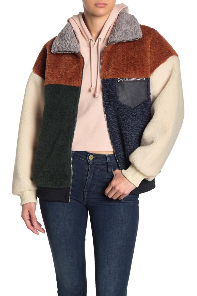 BLANKNYC Denim Colorblock Faux Shearling Faux Leather Trim Jacket