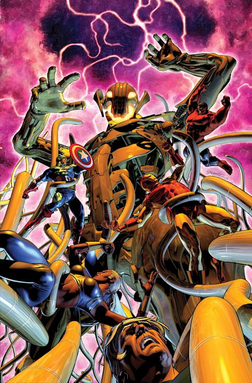 "This image provided by Marvel Comics shows cover art from ""Age of Ultron"" No. 10. Writer Neil Gaiman, whose previous comic outings include revered runs on ""The Sandman"" and ""Marvel 1602,"" will be preceded by the red-haired heavenly bounty hunter Angela in the pages of ""Age of Ultron"" No. 10 in June. (AP Photo/Marvel Comics)"