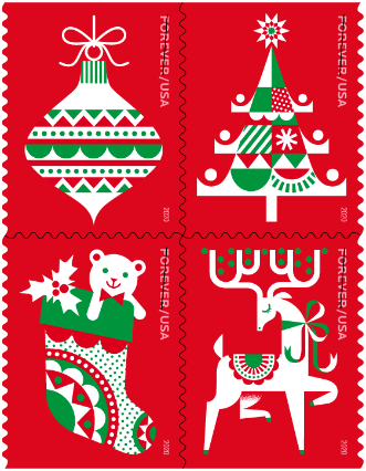 """<p><strong></strong></p><p>usps.com</p><p><strong>$11.00</strong></p><p><a href=""""https://store.usps.com/store/product/buy-stamps/holiday-delights-S_682804"""" target=""""_blank"""">Shop Now</a></p><p>Illustrator Kirsten Ulve created these cheerful stamps """"inspired by folk art, but with a modern, graphic vibe,"""" according to USPS. Printed in the <a href=""""https://www.countryliving.com/entertaining/a29622860/christmas-colors-red-green/"""" target=""""_blank"""">traditional Christmas colors</a> of red, green, and white, the four stamps in this set show beloved holiday symbols including a Christmas tree, a stocking, an ornament, and a reindeer.</p>"""