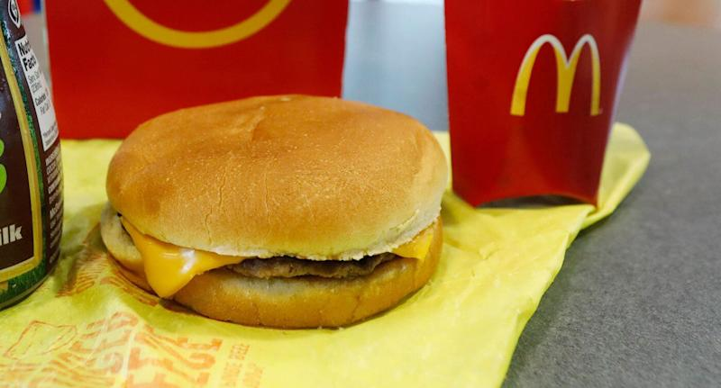 Pictured is a McDonald's Happy Meal Cheeseburger.