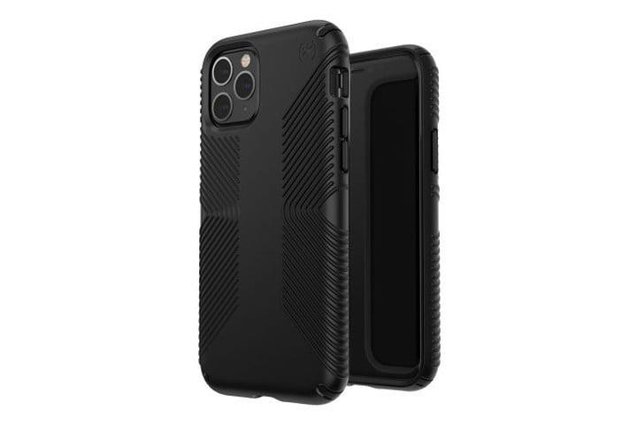 Photo shows the iPhone 11 Pro in a black bumper case from Speck