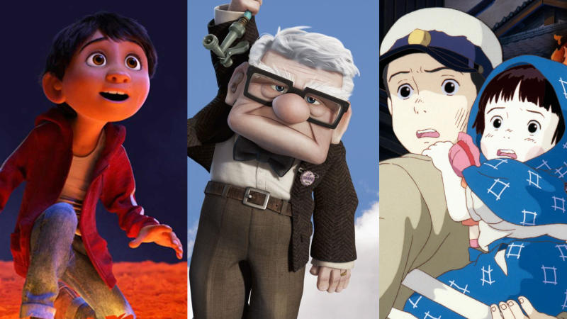 'Coco', 'Up' and 'Grave of the Fireflies'. (Credit: Pixar/Ghibli)
