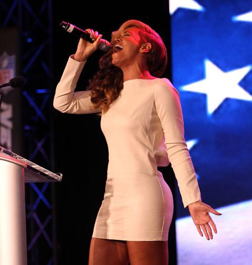 Beyoncé Sings National Anthem Live At Super Bowl Press Conference