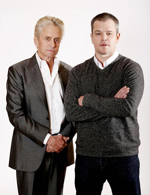 "In this Jan. 4, 2013 photo, actors Michael Douglas, left, and Matt Damon, from the HBO film ""Behind the Candelabra"", pose for a portrait in Pasadena, Calif. The film premieres Sunday, May 26, at 9 p.m. EDT on HBO. (Photo by Matt Sayles/Invision/AP)"
