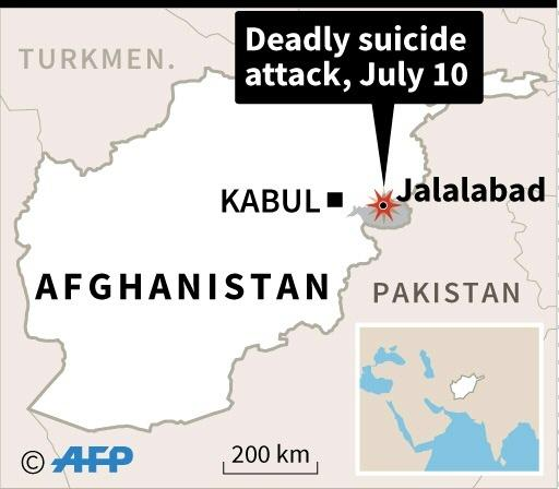 Map of Afghanistan locating Jalalabad, site of suicide attack Tuesday