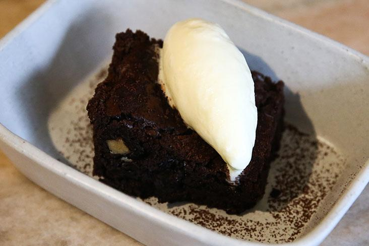 An unusual combination for dessert: Traditional smoky 'pisang salai' in a moist chocolate brownie