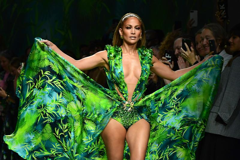 J.Lo, 50, stuns in famous Versace dress 20 years after Grammy debut. Photo: Getty Images.
