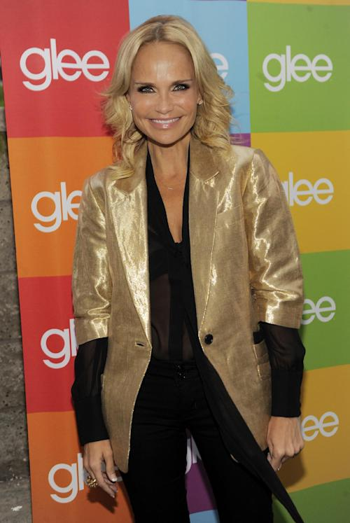 "FILE - In this Aug. 15, 2011 file photo, ""Glee"" cast member Kristin Chenoweth poses before the ""Glee Sing-A-Long"" event at Santa Monica High School in Santa Monica, Calif. Chenoweth issued a statement Monday, Aug. 13, 2012 expressing ""deep regret"" that she is unable to return to the CBS legal drama ""The Good Wife,"" after sustaining injuries on set during filming. AP Photo/Chris Pizzello, File)"