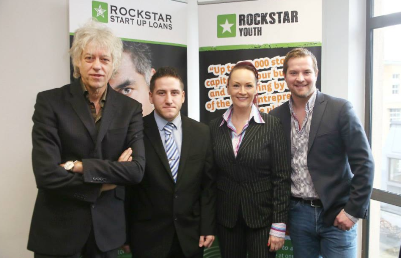 Pictured is Bob Geldof (far left) with Jon Pfahl (far right) and two others at a Rockstar event.