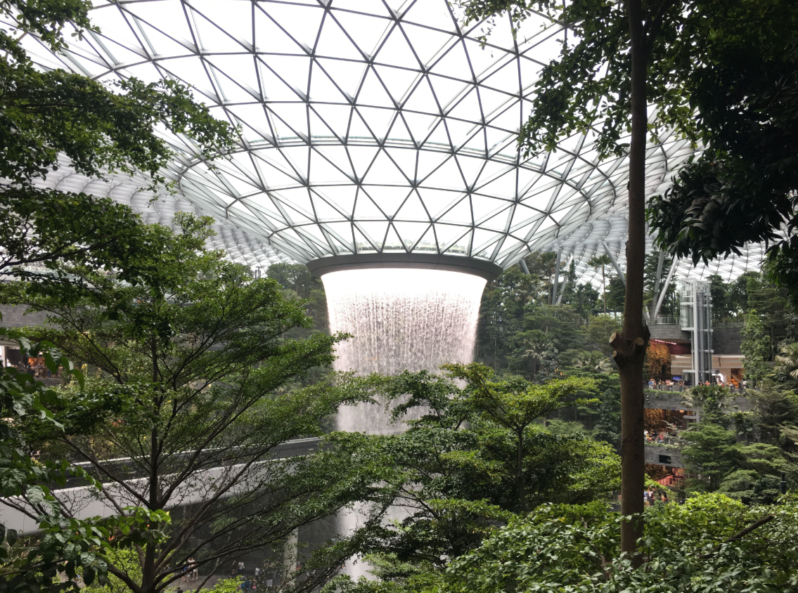 The HSBC Rain Vortex is a 40-metre tall indoor waterfall with water cascading through an oculus in the roof of the building. Set to be the world's tallest indoor waterfall, the Rain Vortex was inspired by the frequent rains in Singapore and will complement the lush greenery surrounding the various lifestyle offerings, making it a sight to behold from every floor. Photo: Yahoo Lifestyle/Yaya Stempler
