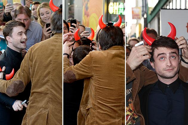 Daniel Rafcliffe dresses appropriately for 'Horns' premiere