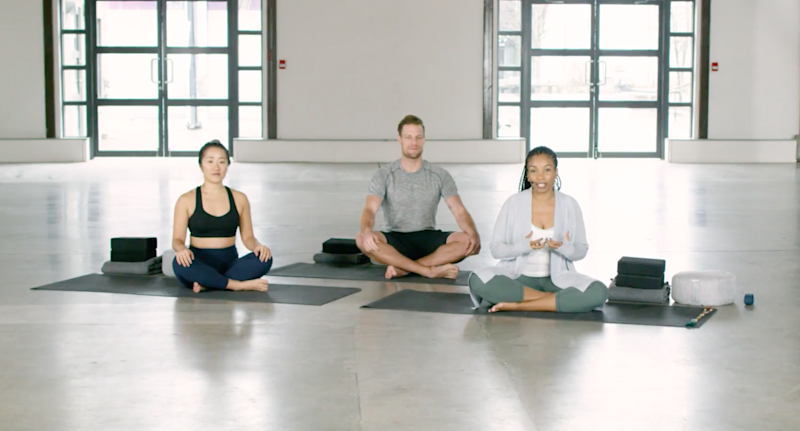 Lululemon offers free, full-length yoga classes on their site for all skill levels. Image via Lululemon.