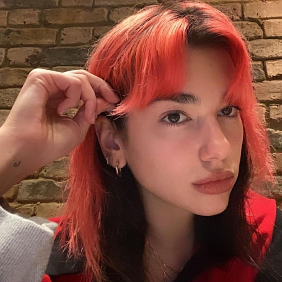 <p>With our favorite celebrities stuck in quarantine, we're getting to see them experiment with colors we never thought we'd see. Red hair is having a major moment—fire engine red, Jessica Rabbit orange, and everything in between—are becoming popular again. Dua Lipa DIYed her bright red hair and we're loving it.</p>