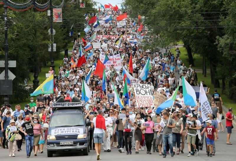 Police crack down on marathon anti-Kremlin protest in Russia's Far East