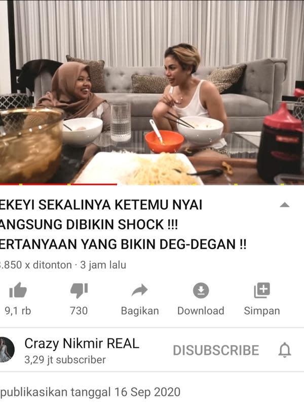 Unggahan Nikita Mirzani. (Foto: YouTube Crazy Nikmir Real)