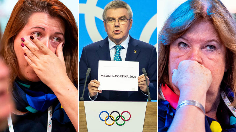 Swedish delegates look on as Thomas Bach awards Italy. Images: Getty
