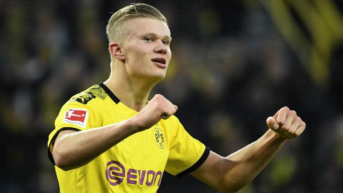 2. Erling Braut Haaland (Borussia Dortmund) - Meski Dortmund telah gugur, Haaland telah menyumbangkan 10 gol di komeptisi Liga Champions 2019/2020. (AFP/Ina Fassbender)