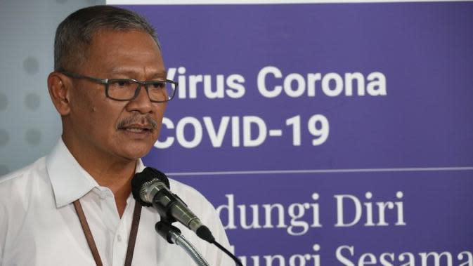 Juru Bicara Pemerintah Untuk Penanganan COVID-19, Achmad Yurianto pada konferensi pers update Corona di Graha BNPB, Jakarta, Kamis (26/3/2020). (Dok Badan Nasional Penanggulangan Bencana/BNPB)