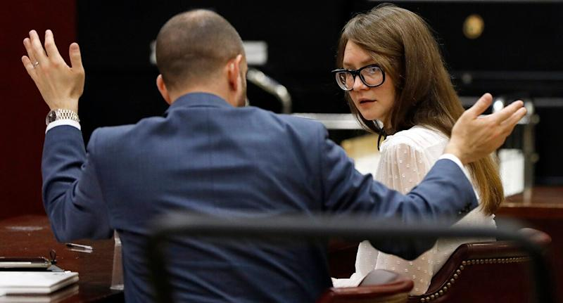 Anna Sorokin and her lawyer Todd Spodek confer during her trial as the jury deliberates at New York State Supreme Court. Source: AAP