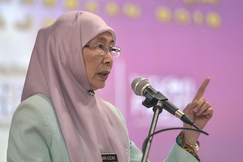 Datuk Seri Wan Azizah Wan Ismail delivers her speech during a World Sight Day event in Putrajaya October 10, 2019. — Picture by Shafwan Zaidon