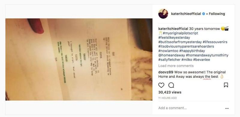 Taking to Instagram on Tuesday, the 39-year-old shared a snippet of her first original script for the pilot episode back in 1988. Source: Instagram/kateritchieofficial