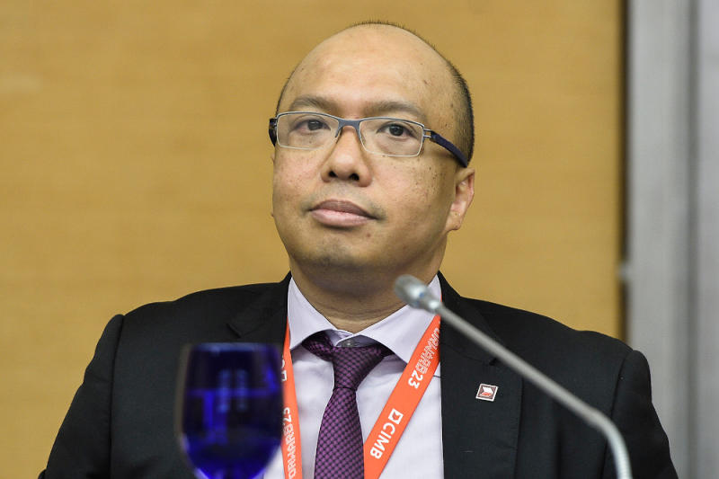 CIMB CEO Datuk Abdul Rahman Ahmad speaks during a media roundtable with CEOs and AKPK in Sasana Kijang September 23, 2020. — Picture by Miera Zulyana