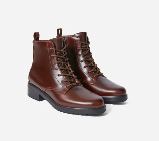 Everlane's Modern Utility Lace-Up Boot in Chocolate