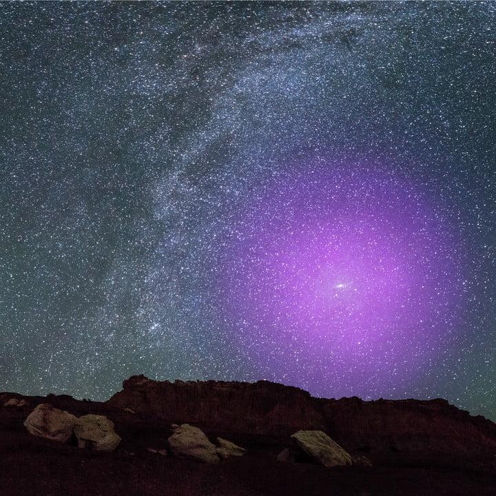 M31 Halo Illustration over Rocky Terrain