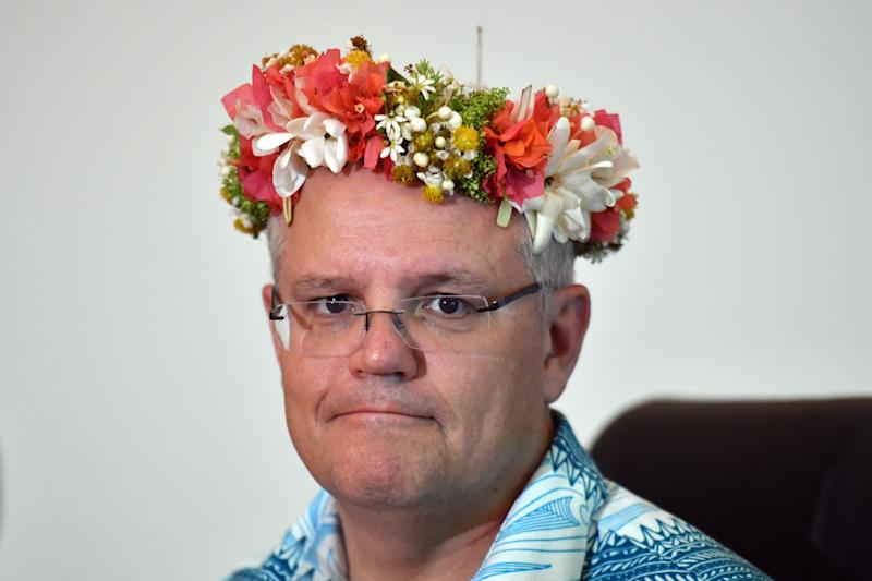 Australia's Prime Minister Scott Morrison at the Pacific Skills Portal Launch during the Pacific Islands Forum in Funafuti, Tuvalu, Wednesday, August 14, 2019. (AAP Image/Mick Tsikas) NO ARCHIVING
