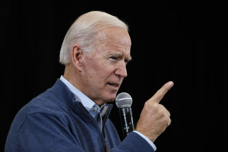 FILE - In this Nov. 22, 2019, file photo, Democratic presidential candidate former Vice President Joe Biden speaks during a town hall meeting in Winterset, Iowa. Biden is leading the most diverse presidential field in history among black voters. (AP Photo/Charlie Neibergall, File)