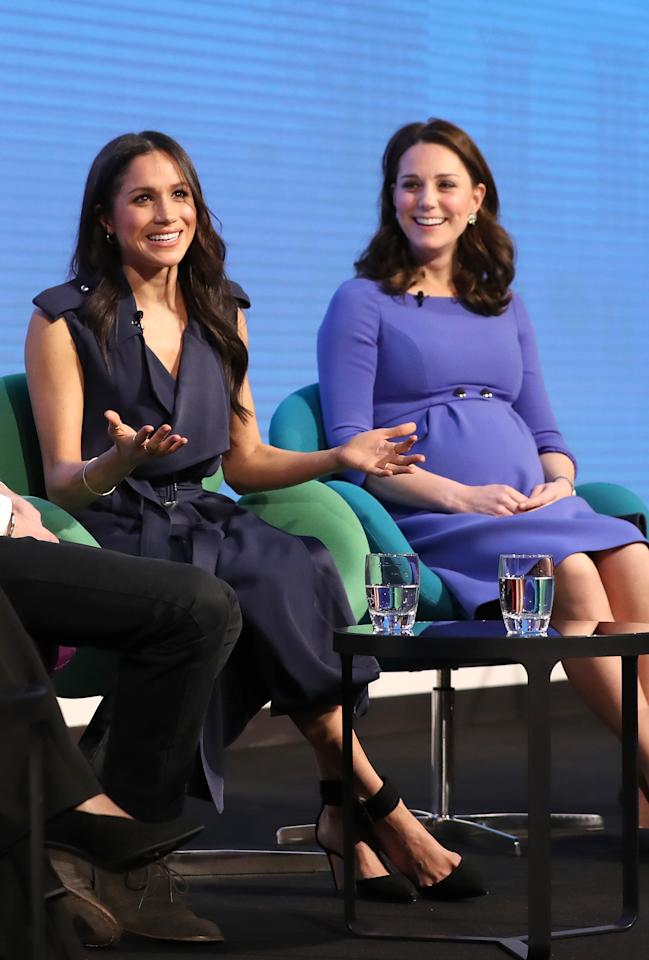 <p>The 'Fab Four' made their first appearance together at a panel for The Royal Foundation in March. However, the bride-to-be apparently broke royal protocol by speaking out about political matters. 'Right now with so many campaigns like MeToo and Time's Up there's no better time to continue to shine a light on women feeling empowered and people supporting them', she said. Photo: Getty Images </p>