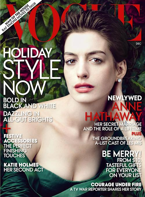 """This cover image provided by Vogue shows actress Anne Hathaway on the cover of the December issue of """"Vogue."""" (AP Photo/Vogue)"""