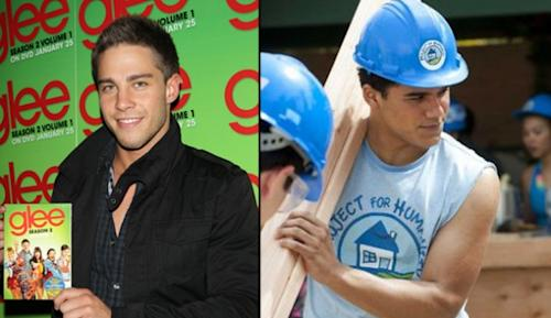Dean Geyer at a 'Glee' event in Park City, Utah (left) and Jacob Artist in 'Blue Lagoon: The Awakening' on Lifetime (right) -- Getty ImagesLifetime