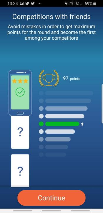 Mondly language learning app competition screen