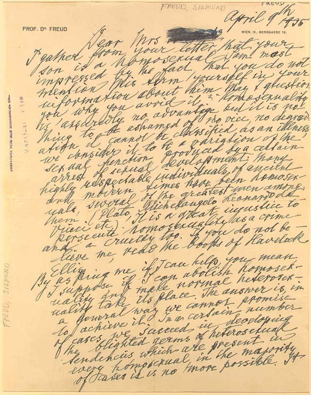 Fragmento de la carta de Sigmund Freud a una madre preocupada por la homosexualidad de su hijo. [Imagen: Wikipedia]
