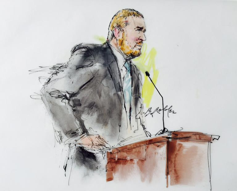 James Holmes' defence attorney Dan King speaks in Arapahoe County District Court in Denver