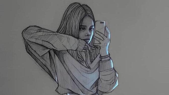 Potret Lukisan yang Memadukan Sketsa dan Cahaya Digital. (Sumber: Brightside)
