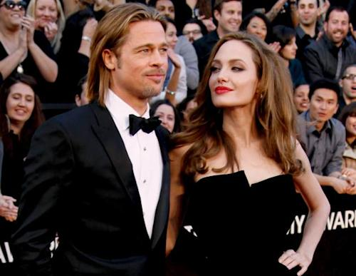 Brad Pitt and Angelina Jolie arrive at the 84th Annual Academy Awards on February 26, 2012 in Hollywood, Calif. -- Getty Premium