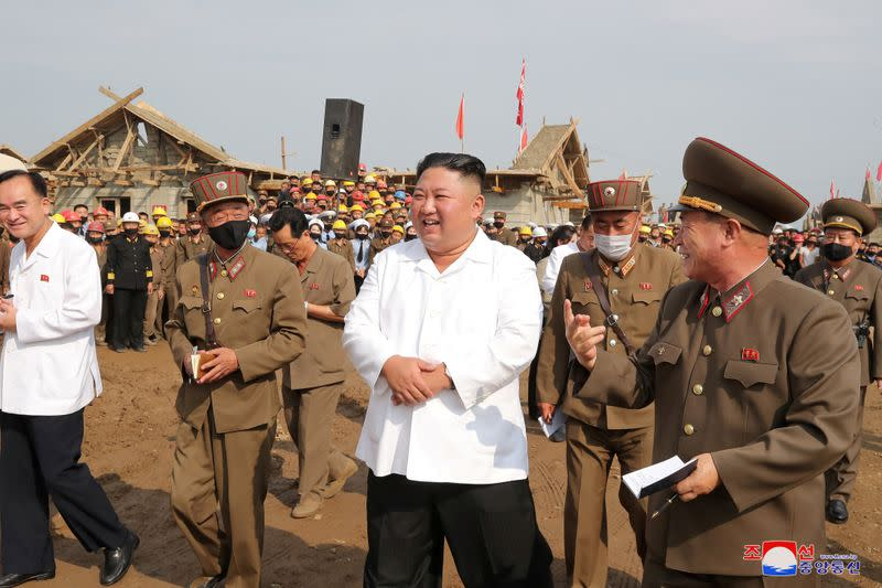 North Korea's Kim inspects reconstruction in flood-hit area - state media KCNA