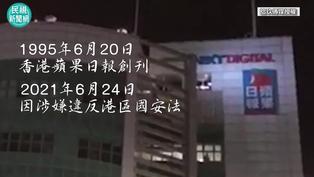 影/不捨香港《蘋果日報》停刊 民眾揮舞手電筒聲援