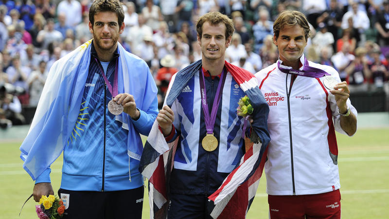 Juan Martin del Portro, Andy Murray and Roger Federer, pictured here with their medals at the 2012 Olympics in London.