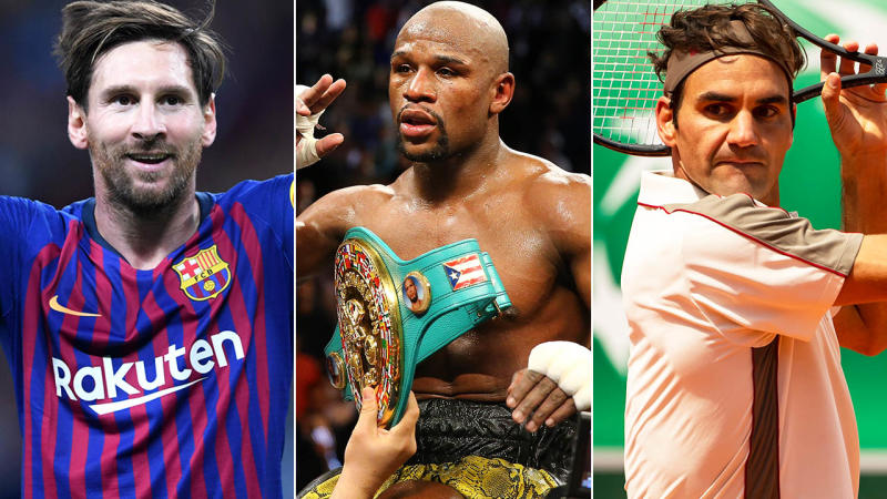 Lionel Messi, Floyd Mayweather and Roger Federer. Image: Getty