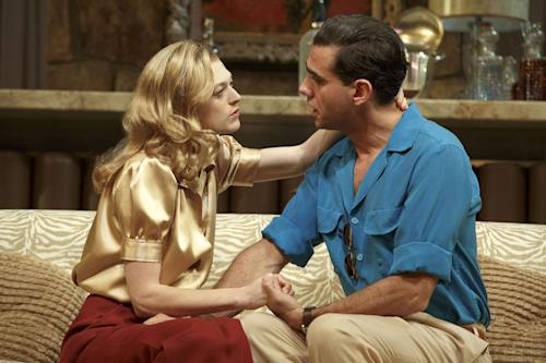 "This publicity image released by Polk PR shows Marin Ireland, left, and Bobby Cannavale in a scene from Clifford Odets' drama ""The Big Knife"", currently performing on Broadway at the Roundabout Theatre Company's American Airlines Theatre in New York. (AP Photo/Polk PR, Joan Marcus)"