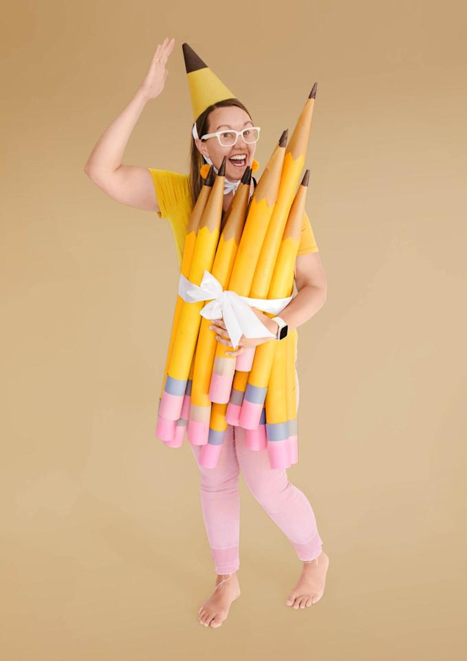 "<p>This costume will have you lookin' sharp!</p><p>To make the costume, round up some pool noodles. Coat the summer staple with yellow spray paint (try Rust-Oleum American Accents in Marigold); add brown paper-cone tips. Wrap ends with pink and gray craft paper to make erasers. Secure the bundle around yourself with ribbon. Extra credit for a corresponding pointy party hat.</p><p><strong>Get the tutorial at <strong><a href=""https://ohyaystudio.com/a-bouquet-of-newly-sharpened-pencils-costume-and-how-much-i-love-youve-got-mail/"" target=""_blank"">Oh Yay Studio</a></strong>.</strong></p><p><strong></strong><a class=""body-btn-link"" href=""https://www.amazon.com/Oodles-Noodles-Deluxe-Foam-Pool/dp/B01LBEX84S/ref=sr_1_1_sspa?tag=syn-yahoo-20&ascsubtag=%5Bartid%7C10050.g.22118522%5Bsrc%7Cyahoo-us"" target=""_blank"">SHOP POOL NOODLES</a></p>"